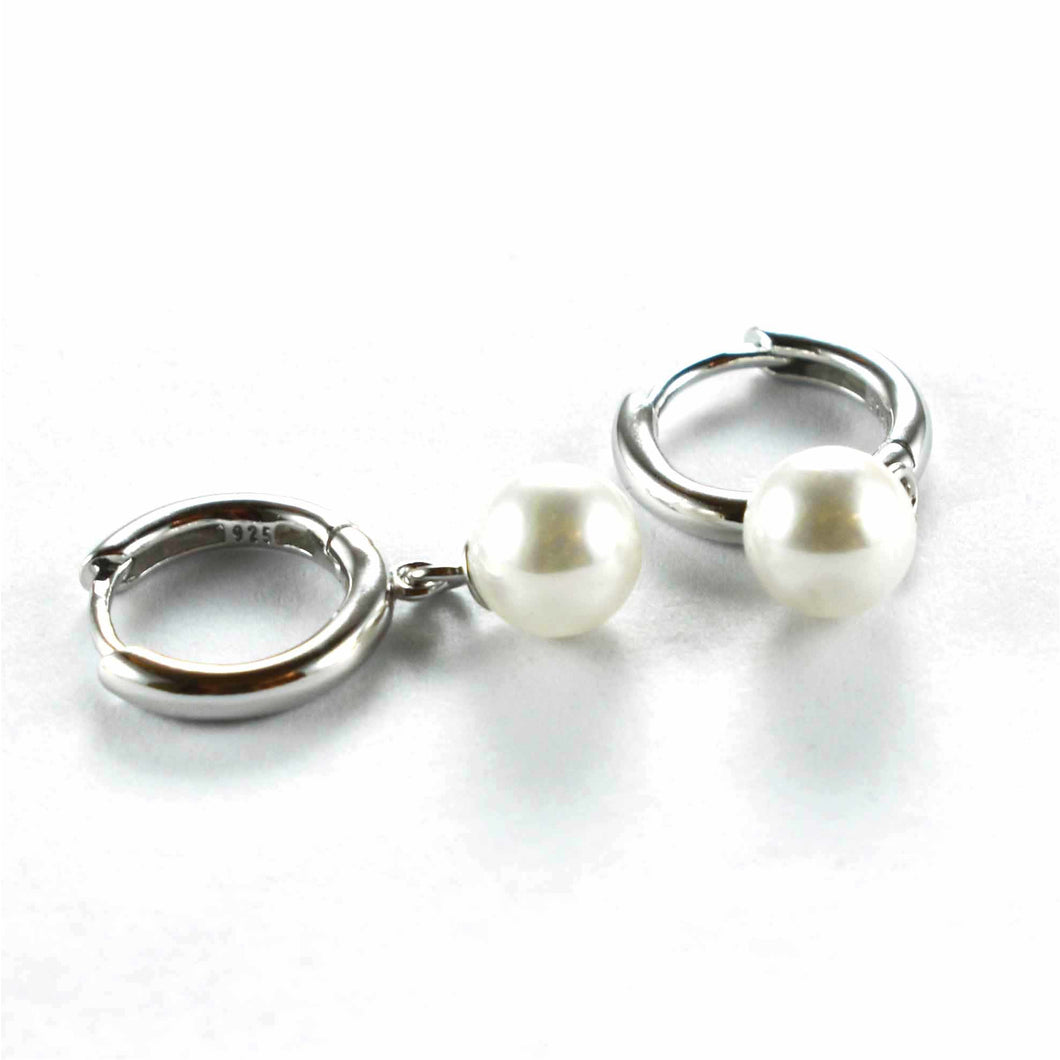 Circle earring with pearl & platinum plating