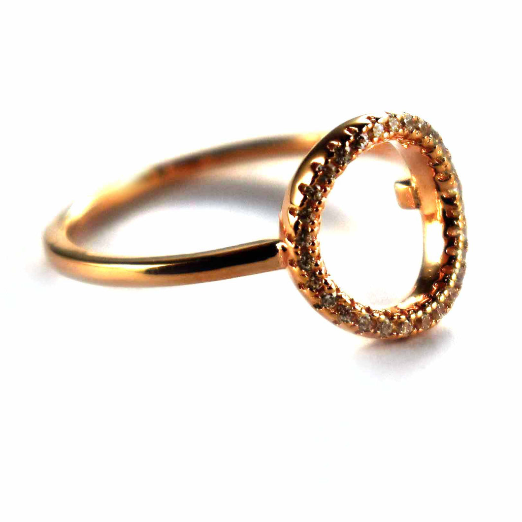 Circle pattern with white CZ & pink gold plating silver ring