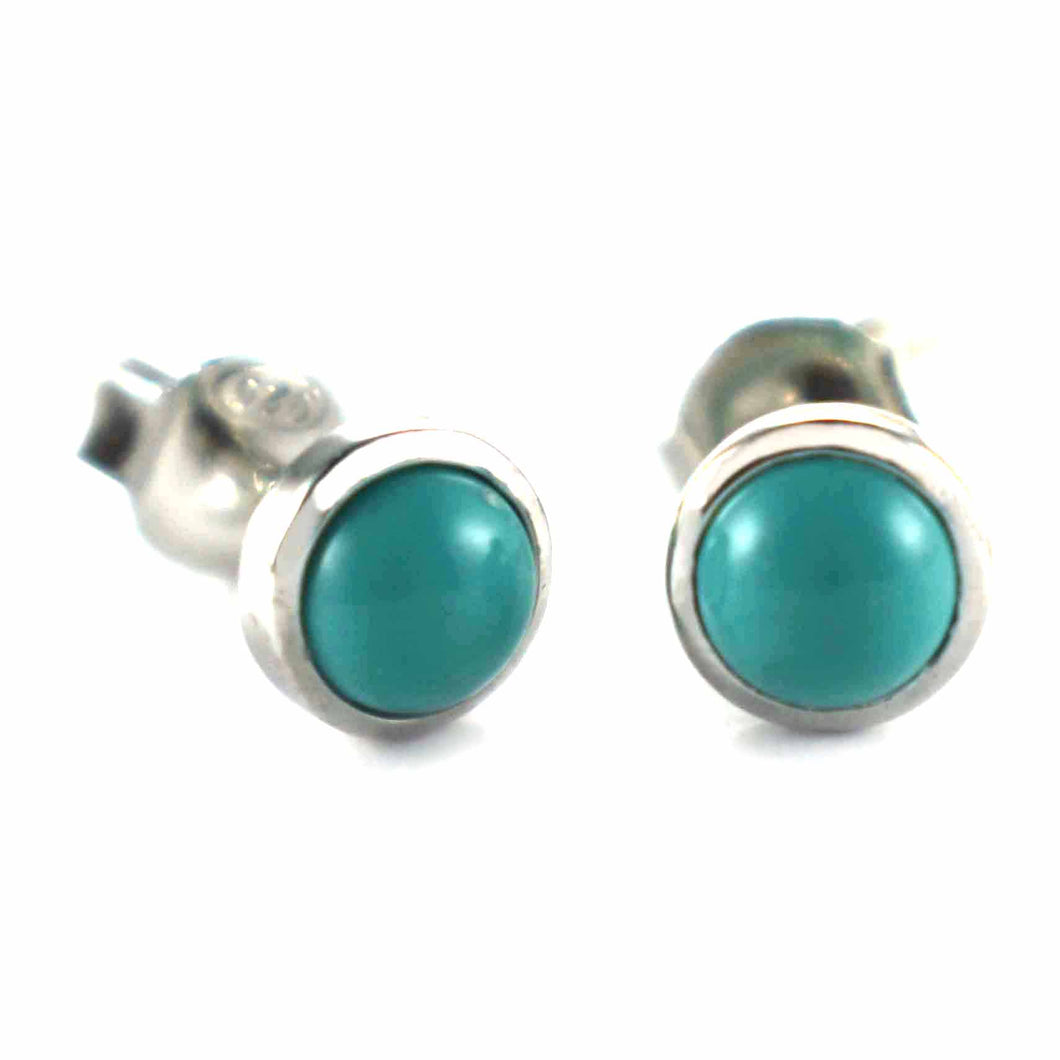 Circle silver earring with turquoise