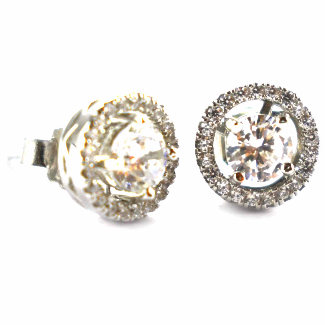 Circle silver earring with white CZ & Platinum plating