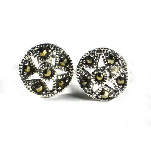 Circle & star silver studs earring with marcasite