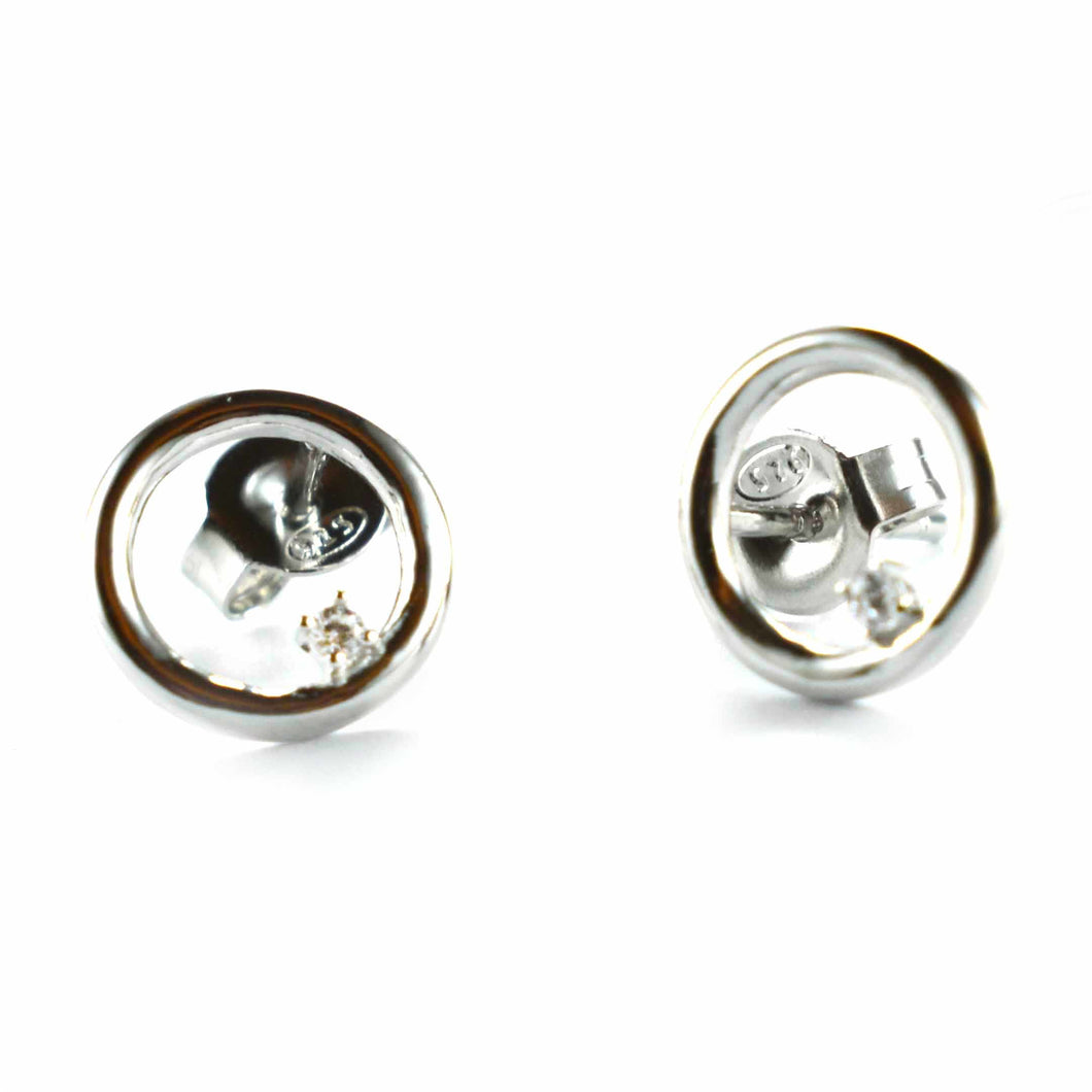 Circle silver earring with small CZ