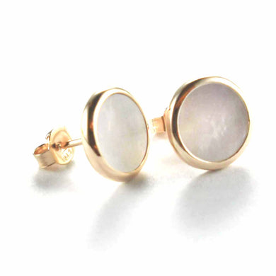 Circle stud silver earring with mother of pearl & pink gold plating