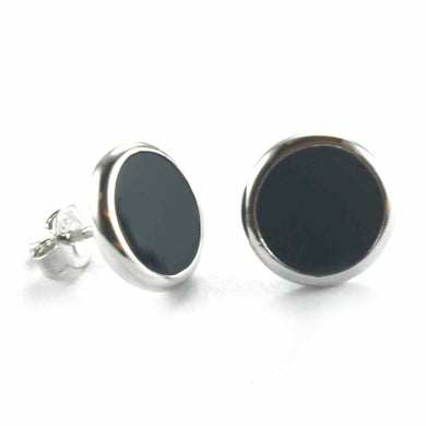 Circle stud silver earring with onyx