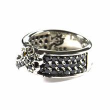 Classic cross silver ring with black CZ