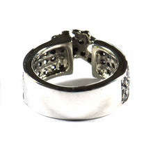 Classic cross silver ring with white CZ