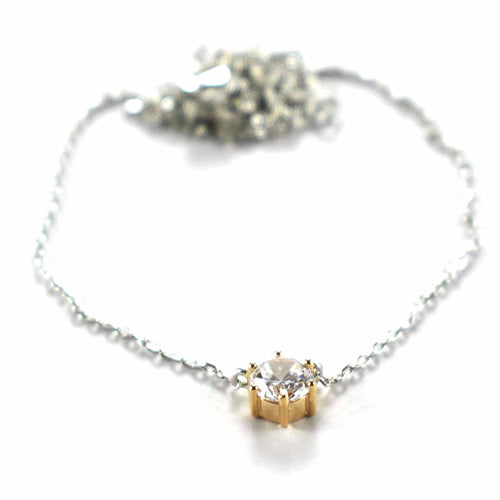 Claw set silver necklace with white CZ & pink gold plating