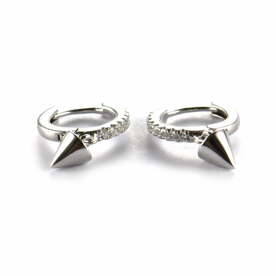 Cone silver earring with white CZ