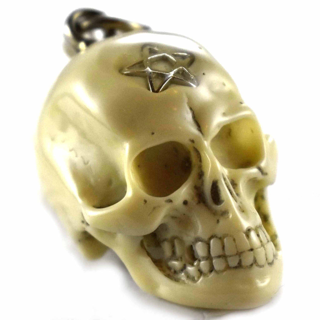 Cow bone with star pattern skull silver pendant