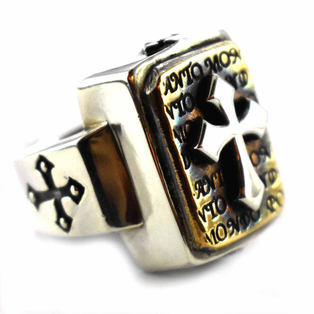 Cross pattern copper plating rectangle silver ring
