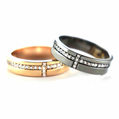 Cross pattern silver couple ring with pink gold & black rhodium plating