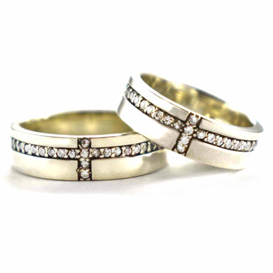 Cross pattern silver couple with white CZ & oxidized