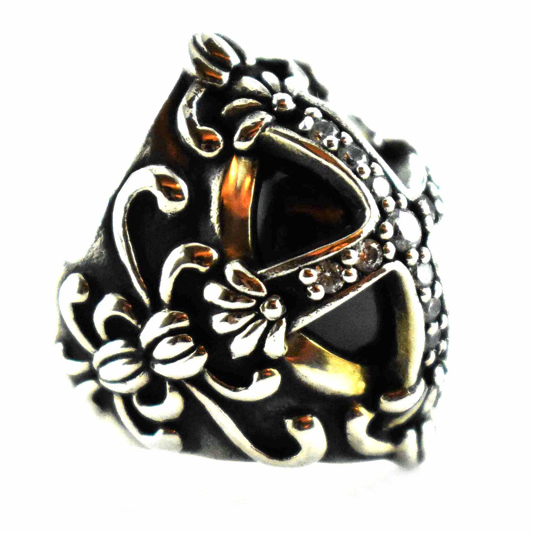 Cross pattern with white cubic zirconia & black stone silver ring