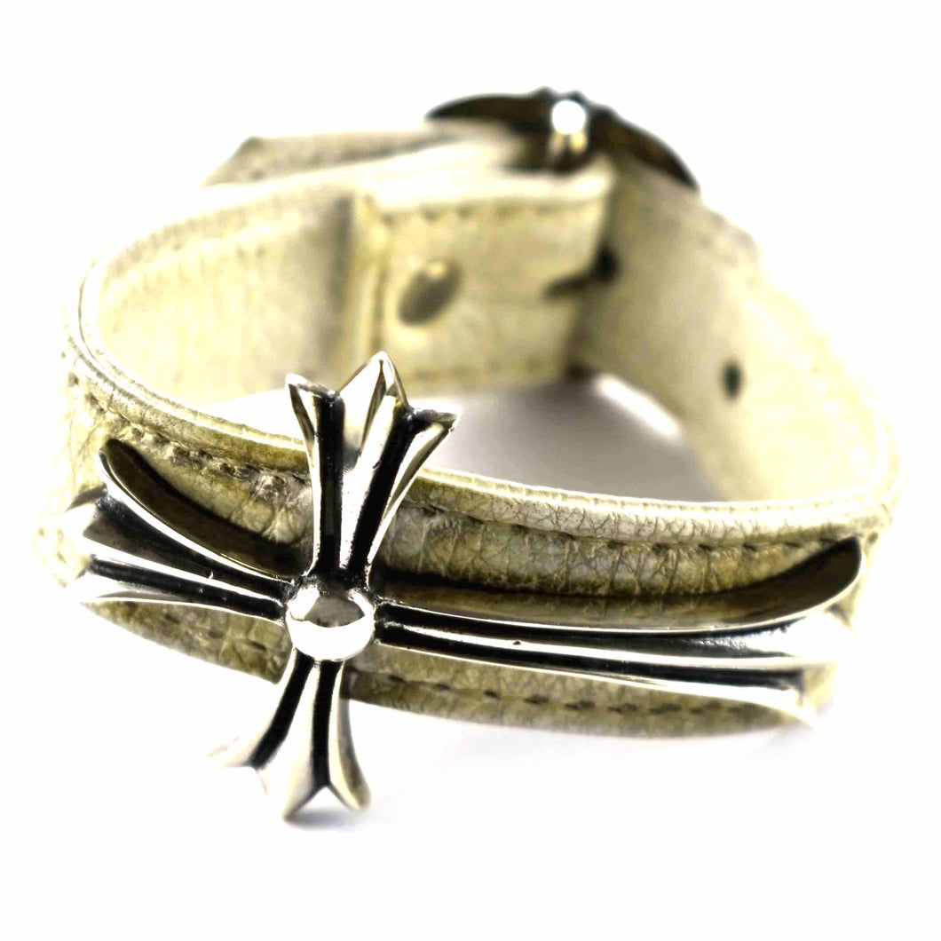 Cross pattern with white leather silver bracelet