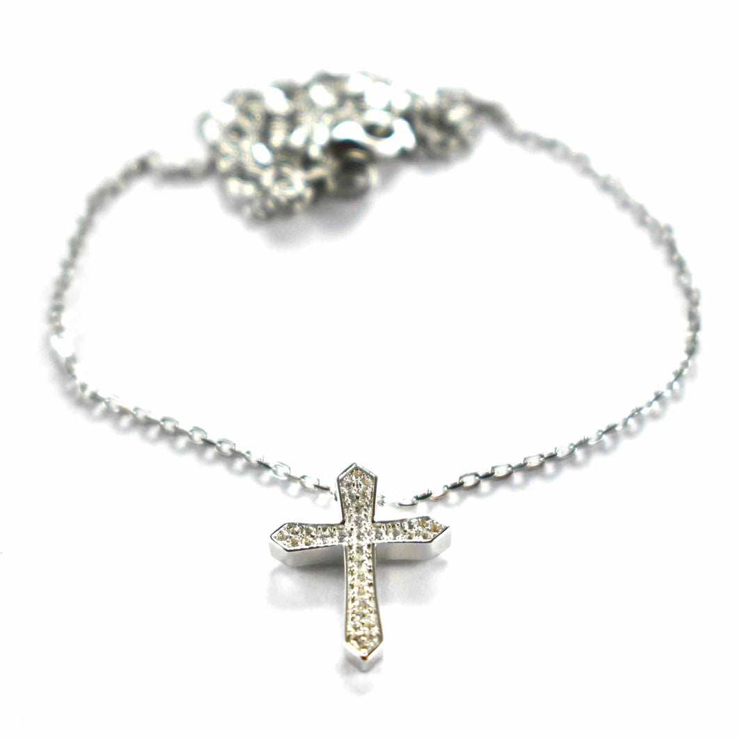Cross silver necklace with white CZ