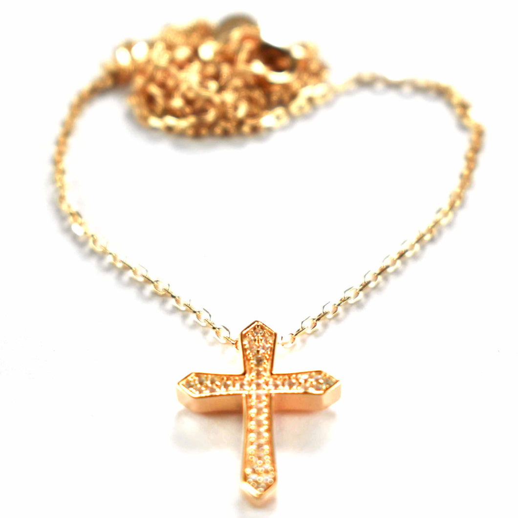 Cross silver necklace with white CZ & pink gold plating