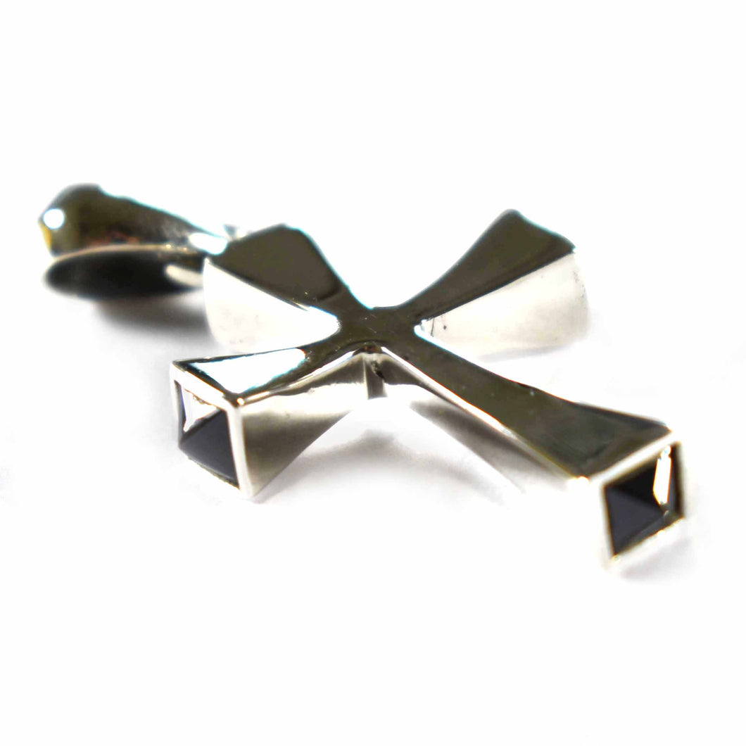 Cross silver pendant with onyx