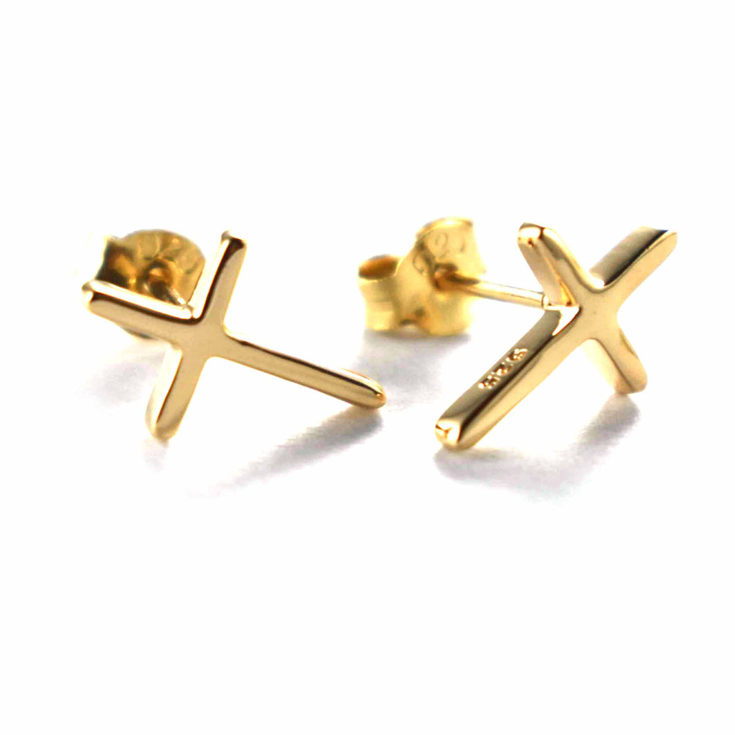 Cross stud earring with pink gold plating