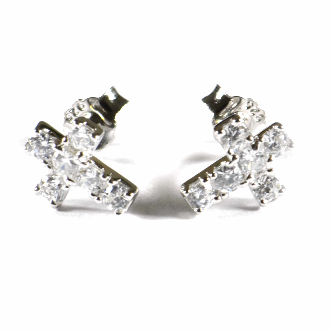 Cross silver studs earring with full of CZ