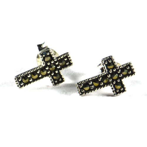 Cross silver studs earring with marcasite