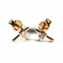Cross studs silver earring with one CZ & pink gold plating