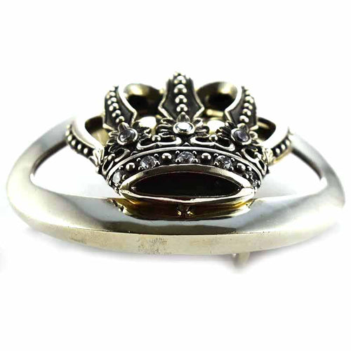 Crown pattern silver belt buckle
