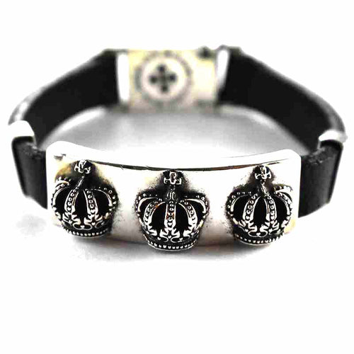 Crown pattern with leather silver bracelet website