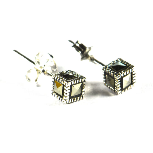 Cube silver studs earring with marcasite