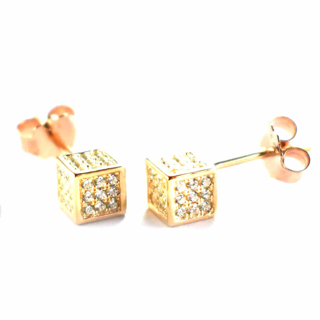 Cubic silver earring with white CZ & pink gold plating