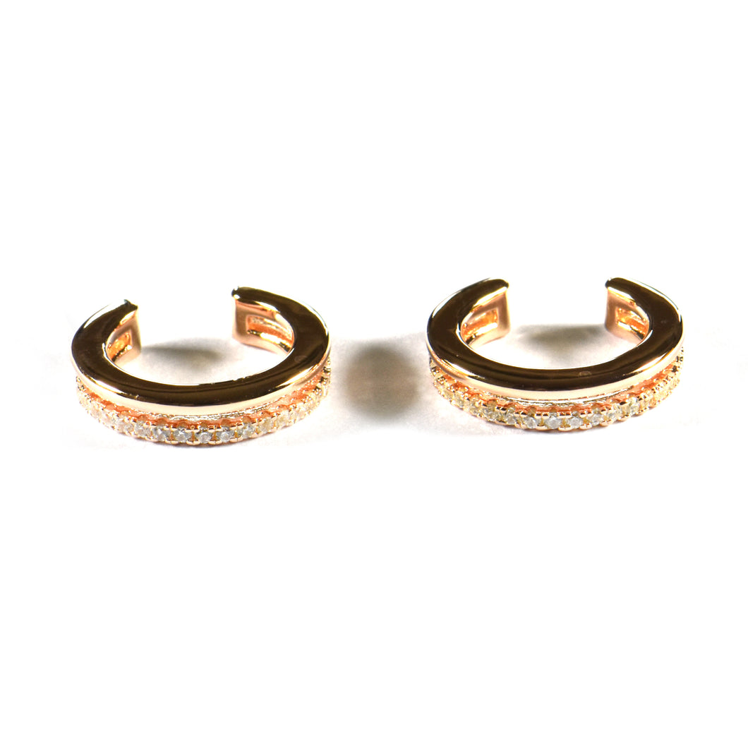 Cuff silver earring with round of CZ & pink gold plating