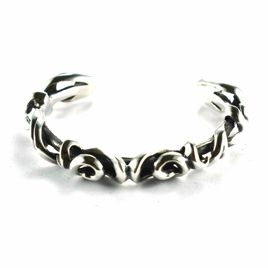 Thorns pattern & punk style with oxidize silver bangle