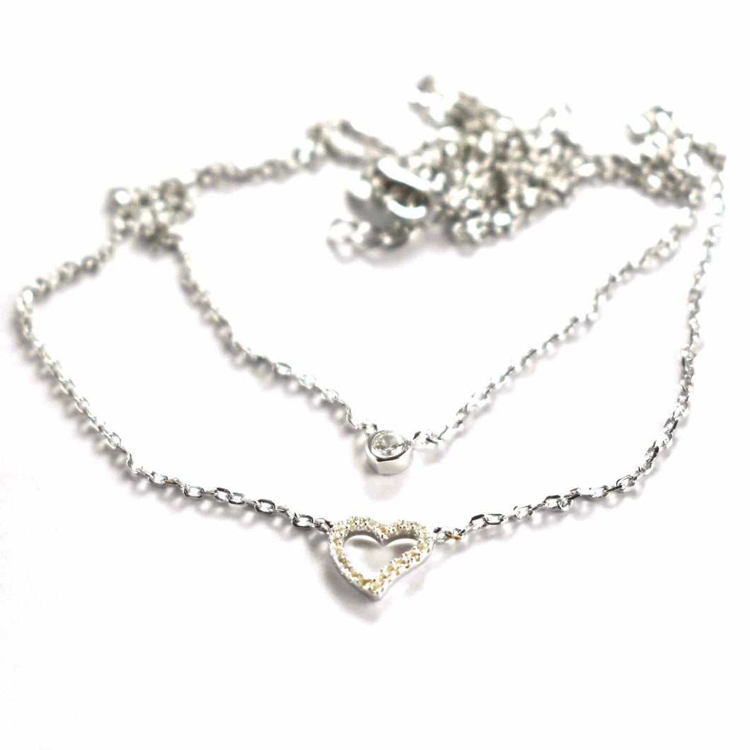 Double chain silver necklace with white CZ