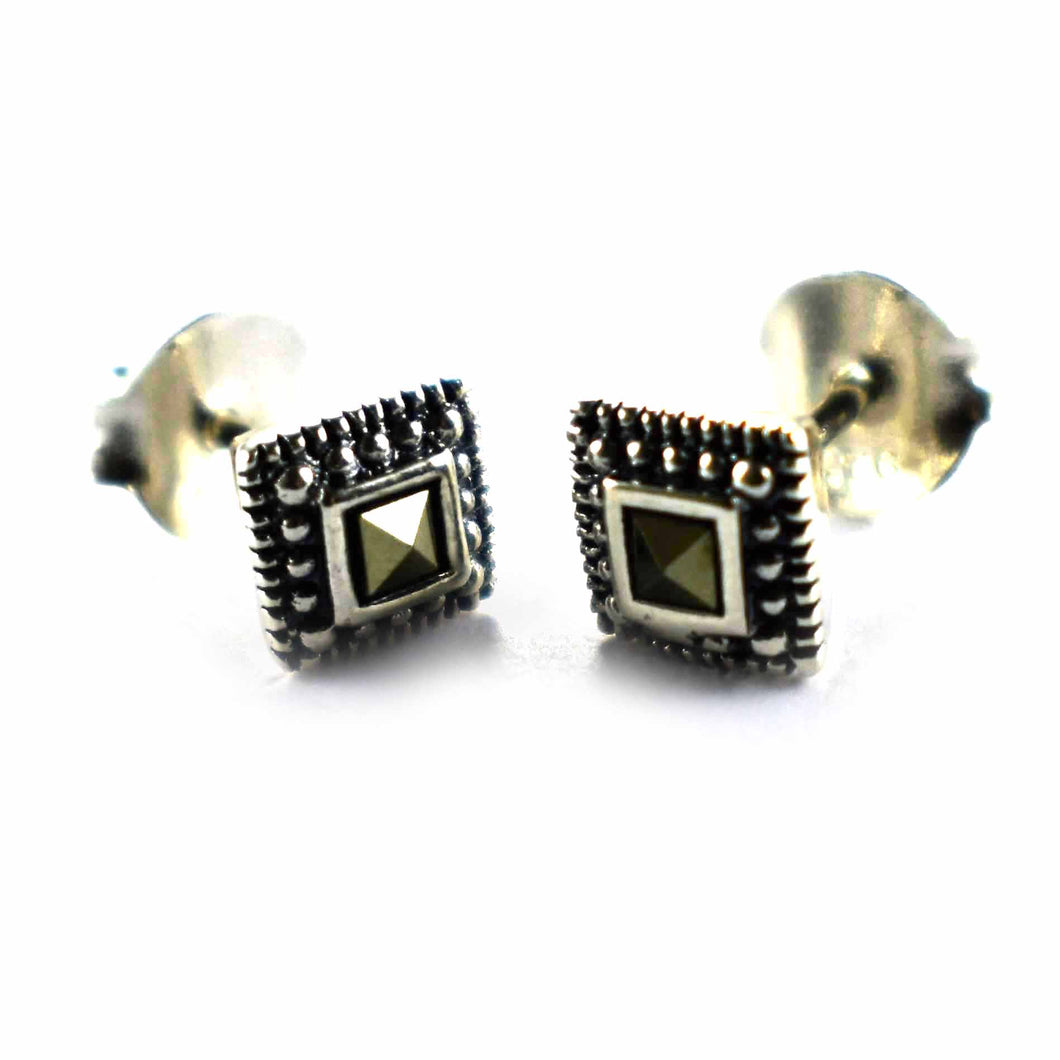 Double square silver studs earring with marcasite