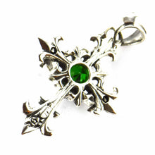 Double cross silver pendant with green CZ