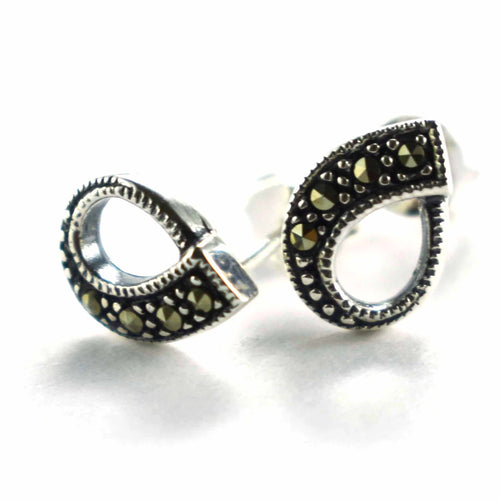 Drops shape studs silver earring with marcasite