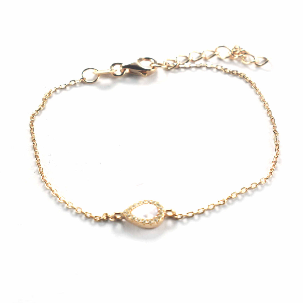 Waterdrop silver bracelet with mother of pearl & pink gold plating