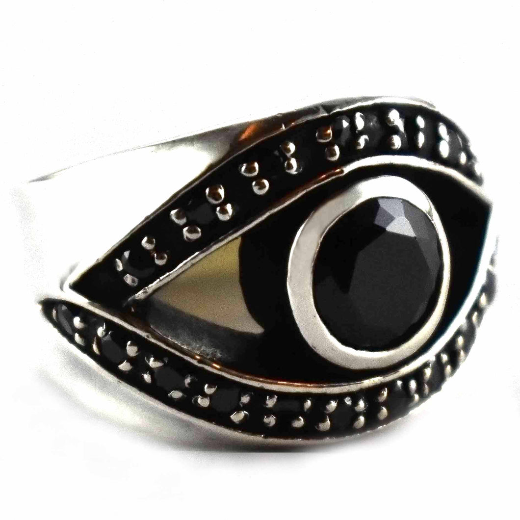 Eye pattern with round black cubic zirconia silver ring