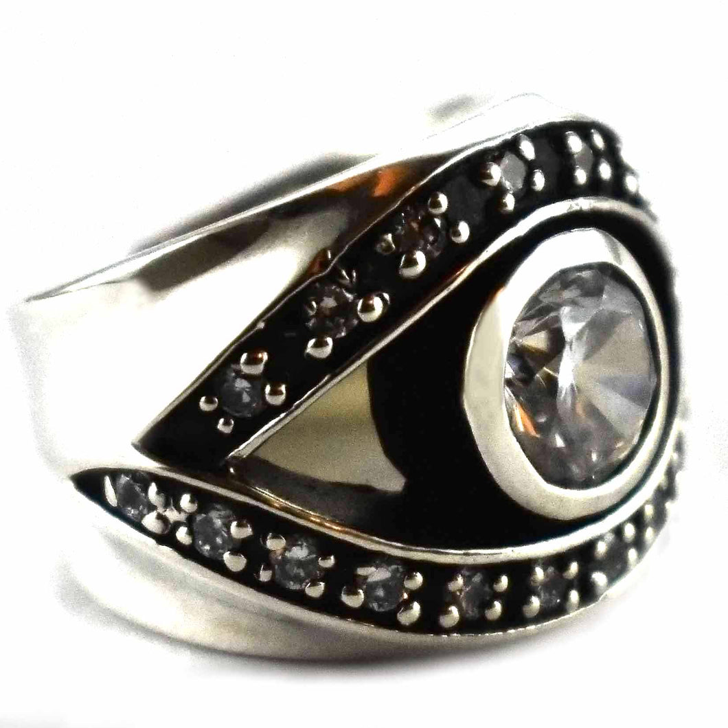 Eye pattern with round white cubic zirconia silver ring