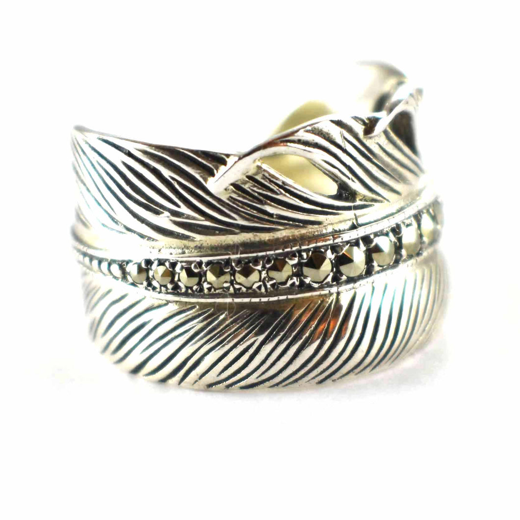 Feather silver ring with marcasite & silver oxidize
