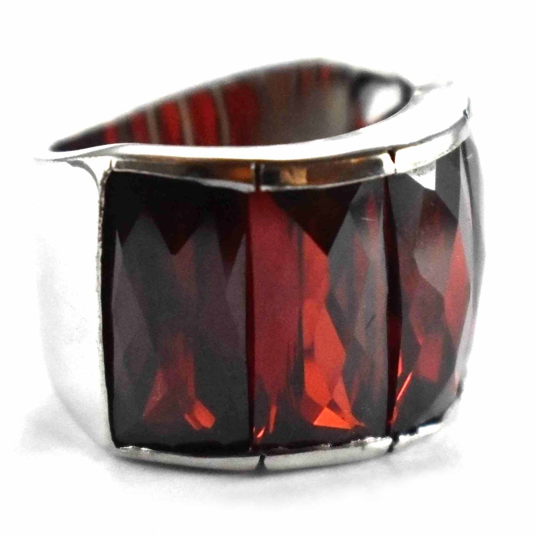 Five rectangle dark red cubic zirconia silver ring
