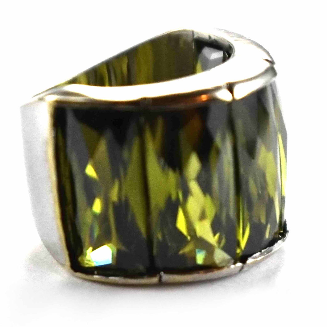Five rectangle olive cubic zirconia silver ring