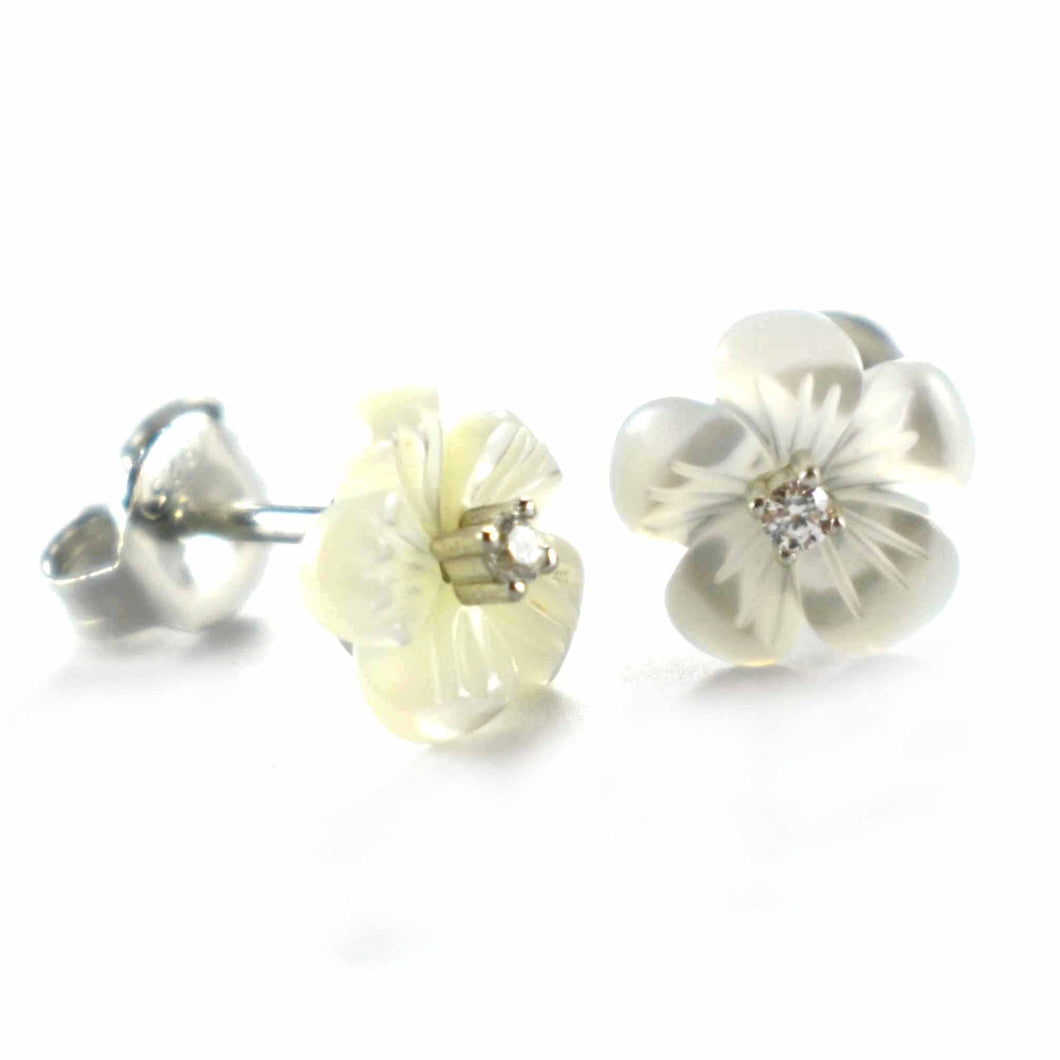Flower pattern silver earring with mother of pearl & white CZ