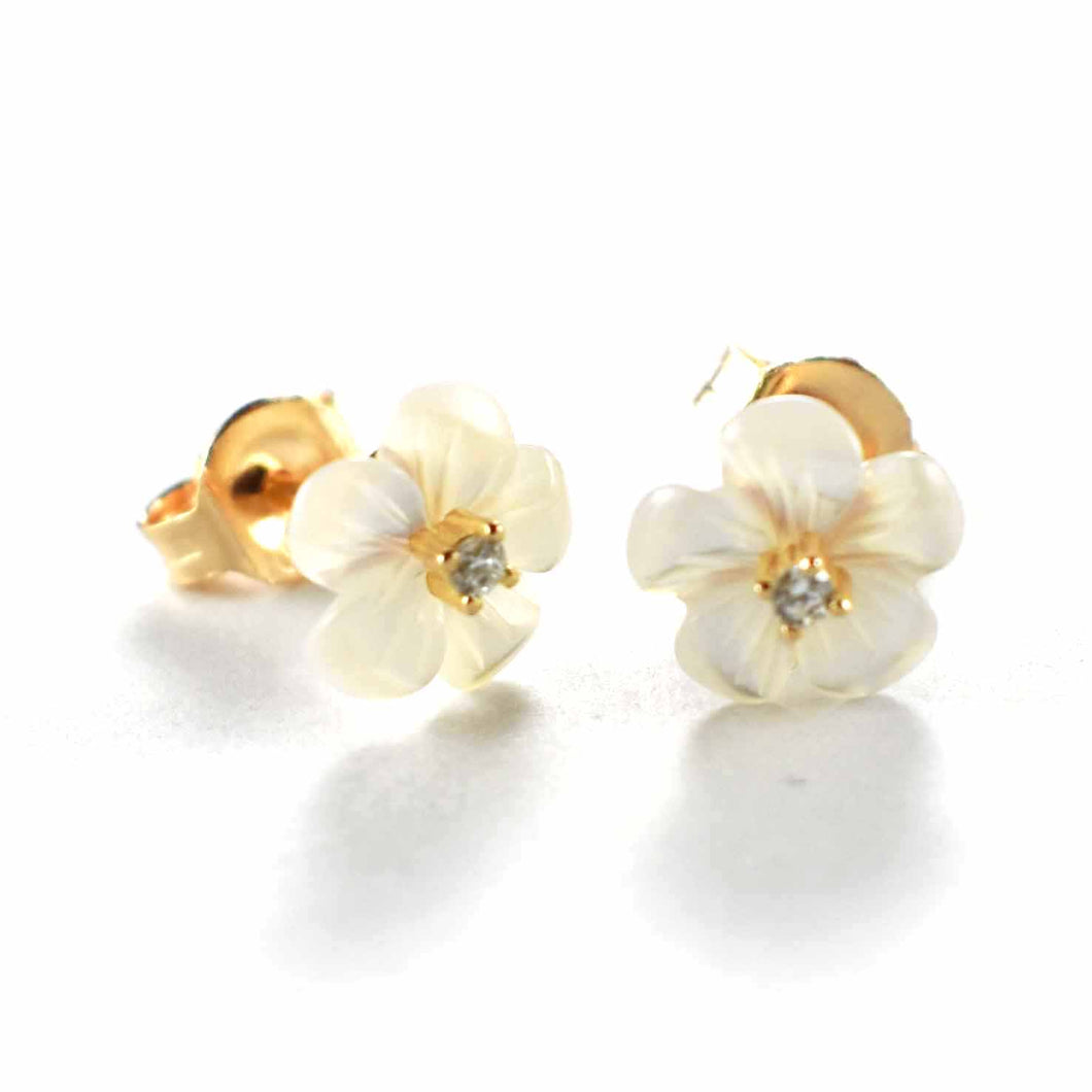 Flower pattern silver earring with white CZ & pink gold plating