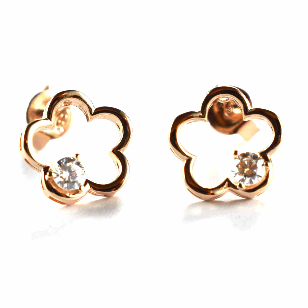 Flower stud silver earring with CZ & pink gold plating