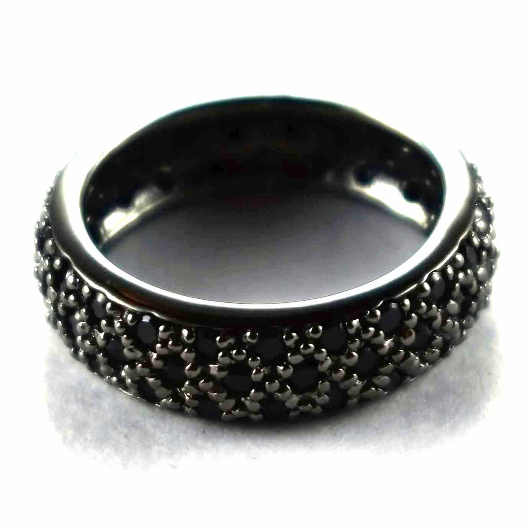Full of small onyx with black rhodium silver ring