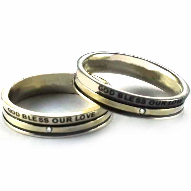 God bless our love silver couple ring