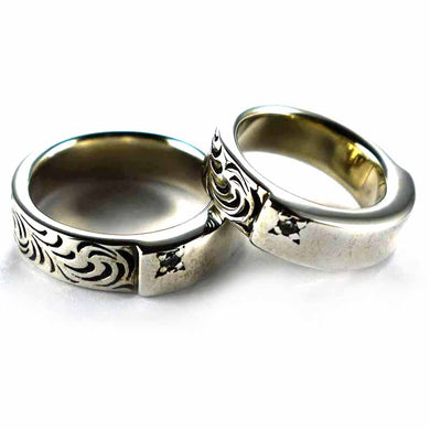Grass & Plain pattern silver couple ring