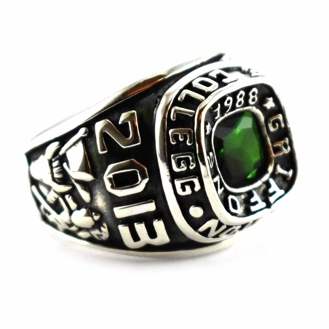 Green cubic zirconia silver school ring