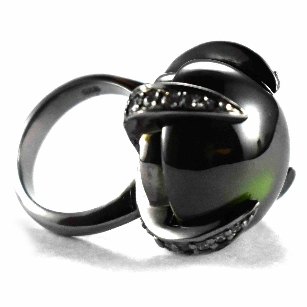 Green stone with black rhodium plating silver ring