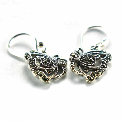Half butterfly silver earring with marcasite